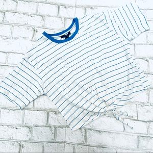 Forever 21 Tie Knot Blue Striped Crop Top